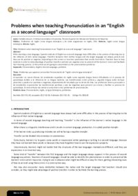 "Problems when teaching Pronunciation in an ""English as a second language"" classroom"