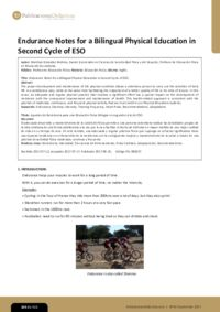Endurance Notes for a Bilingual Physical Education in Second Cycle of ESO