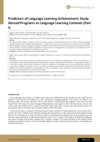 Predictors of Language Learning Achievement: Study Abroad Programs as Language Learning Contexts (Part I)