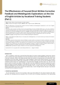 The Effectiveness of Focused Direct Written Corrective Feedback and Metalinguistic Explanations on the Use of English Articles by Vocational Training Students (Part I)