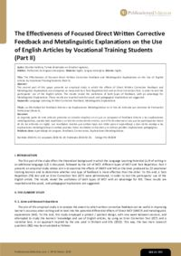The Effectiveness of Focused Direct Written Corrective Feedback and Metalinguistic Explanations on the Use of English Articles by Vocational Training Students (Part II)