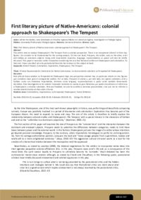 First literary picture of Native-Americans: colonial approach to Shakespeare's The Tempest