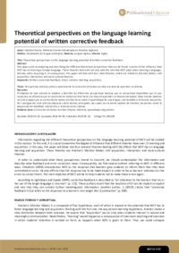 Theoretical perspectives on the language learning potential of written corrective feedback