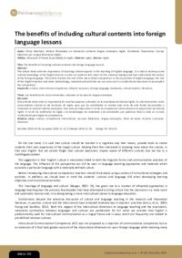 The benefits of including cultural contents into foreign language lessons