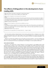 The effects of bilingualism in the development of pre-reading skills