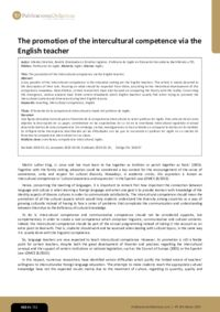 The promotion of the intercultural competence via the English teacher