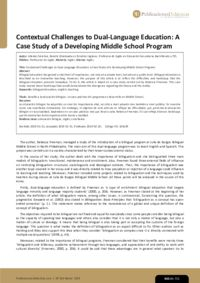 Contextual Challenges to Dual-Language Education: A Case Study of a Developing Middle School Program